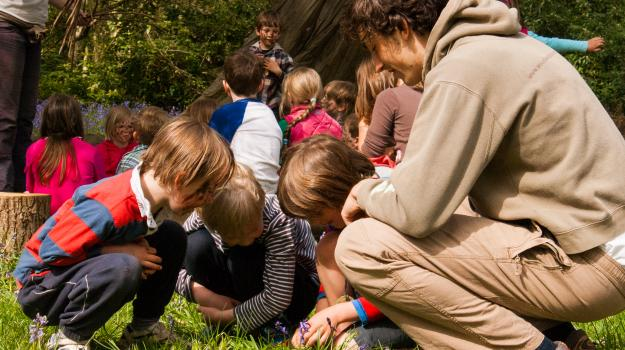 Children and leaders looking down in the grass