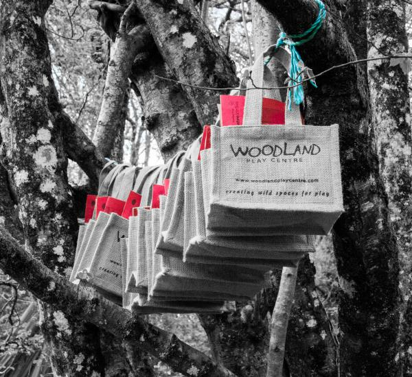 Bespoke part bags hanging in a tree