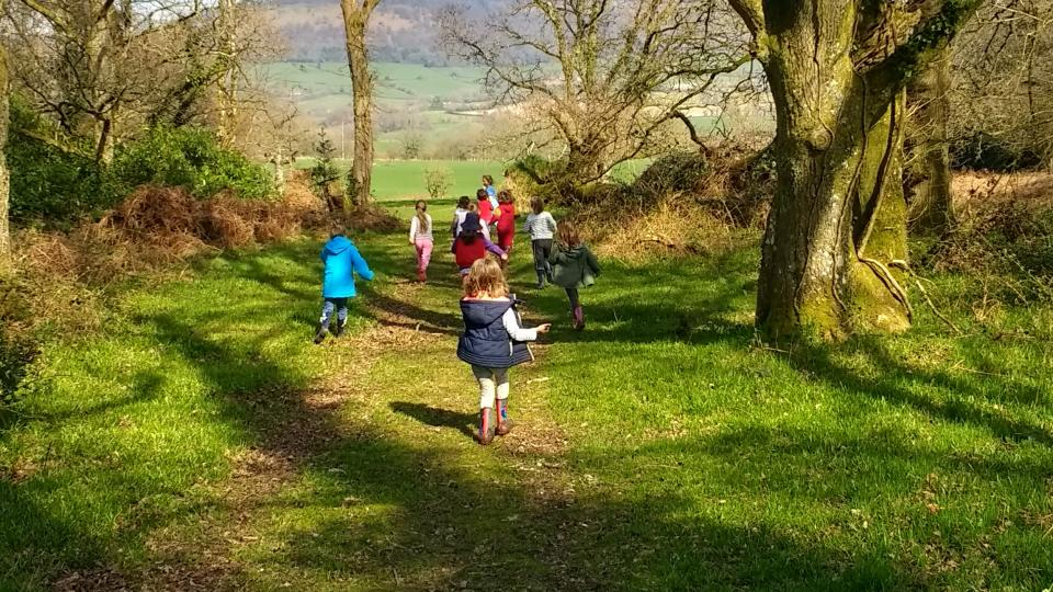 Children running off into the woods to explore